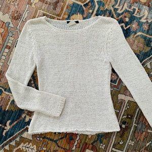 90s vintage white crew neck sweater knit boho